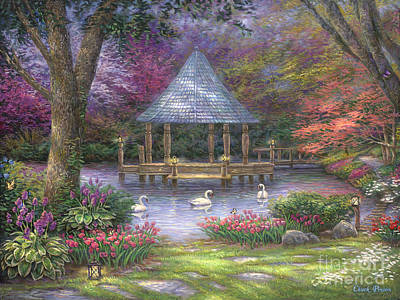 Gazebo Painting - Swan Pond by Chuck Pinson