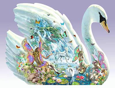Horizontal Digital Art - Swan Puzzle by Adrian Chesterman
