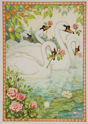 Swan Romance Art Print by Lynn Bywaters