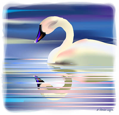 Digital Art - Swan Song by Arline Wagner