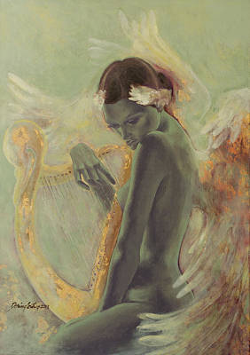 Harp Painting - Swan Song by Dorina  Costras