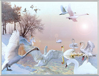 Digital Art - Swan Song by Michael Pittas
