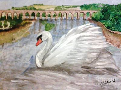 Landscape Painting - Swan Upon Tweed by Fiona Glass W