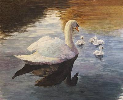 Waterfowl Painting - Swan With Young  by Rita Fors