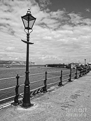 Gas Lamp Photograph - Swanage Pier Black And White by Linsey Williams