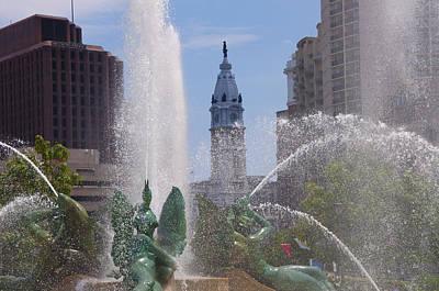 Swann Digital Art - Swann Fountain In Philadelphia by Bill Cannon