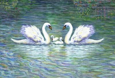 Sisters Painting - Swans And Two Babies by Linda Mears