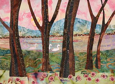 Mountain Sunset Mixed Media - Swans At Teatown Lake Preservation by Susan Minier