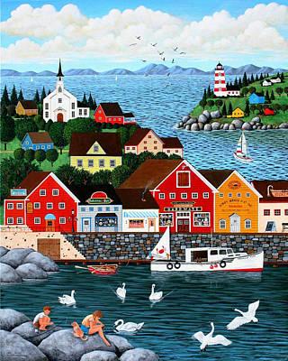 Swan's Cove Art Print by Wilfrido Limvalencia