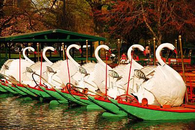 Swans In Boston Common Art Print by James Kirkikis
