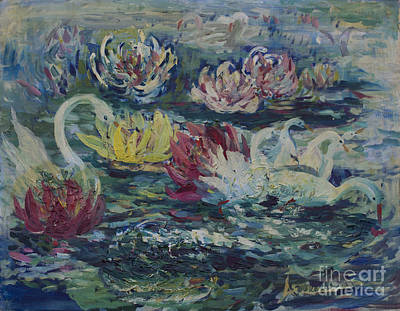 Art Print featuring the painting Swans In Lilies  by Avonelle Kelsey