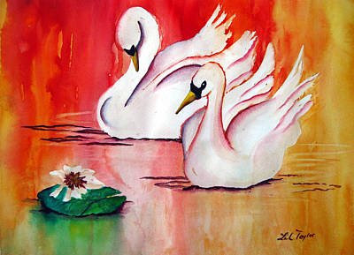 Swans In Love Art Print