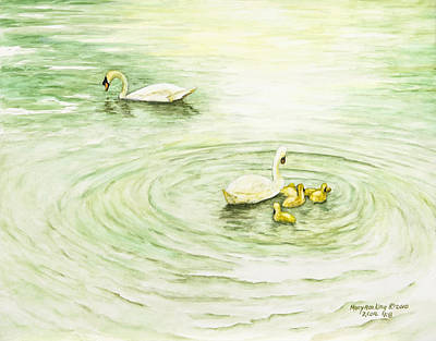 Swans In St. Pierre Art Print