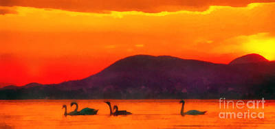 Characteristics Painting - Swans In The Sunset by Odon Czintos
