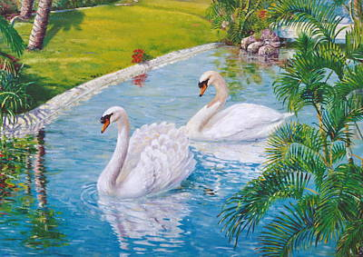 Waterfowl Painting - Swans Mirage by Peter Jean Caley