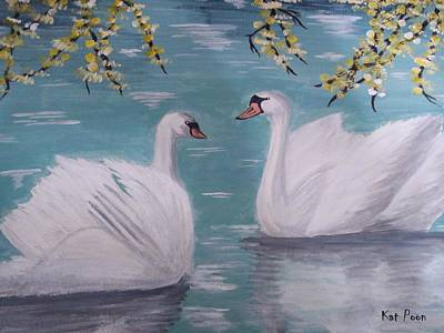 Painting - Swans On Pond by Kat Poon