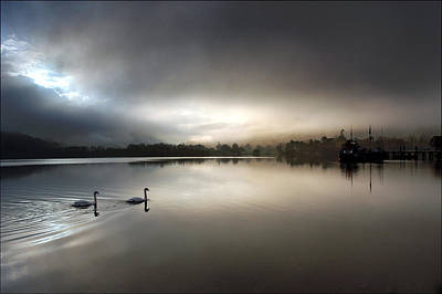 Ethereal - Swans on Ullswater by Dave Hudspeth