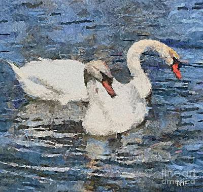Swans Painting - Swan's Song by Dragica  Micki Fortuna
