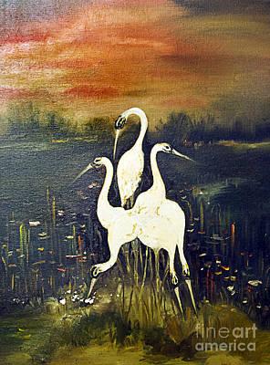 Characteristics Painting - Swans by Milan Karadzic