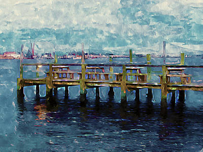 Wooden Platform Painting - Swansboro Dock 1 by Lanjee Chee