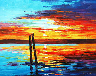 Ocean Sunset Painting - Swansea Sunset by Graham Gercken