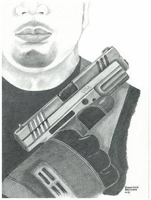 S.w.a.t. Team Leader Holding A Springfield Armory Xd 40 Cal Weapon Original