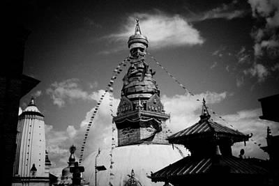 Swayambhunath Temple Black And White Art Print by Raimond Klavins