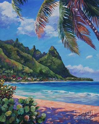 North Sea Painting - Swaying Palm On Makua Beach by John Clark