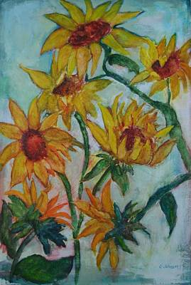 Windblown Painting - Swaying Sunflowers by Gloria Johnson