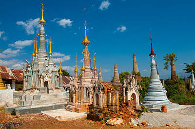 Painting - Swe Inn Tein Pagodas Myanmar by Judith Barath
