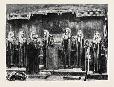 Swearing-in The New Lord Chancellor At Westminster Hall Art Print by English School