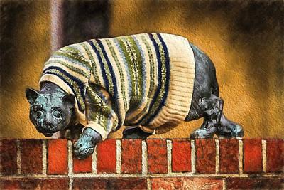 Sweatered Cat Art Print by John Haldane