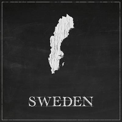 Sweden Digital Art - Sweden Chalk Map by Finlay McNevin