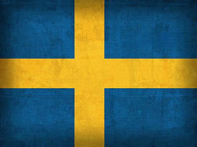 Flag Mixed Media - Sweden Flag Vintage Distressed Finish by Design Turnpike