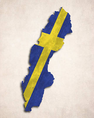 Sweden Map Art With Flag Design Art Print by World Art Prints And Designs