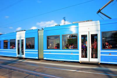 Sweden, Stockholm - Modern Tram Art Print