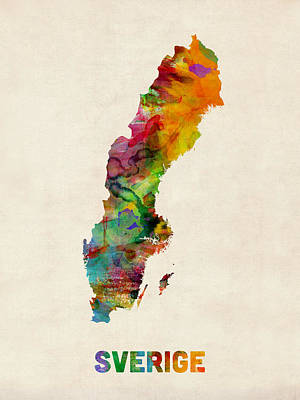 Sweden Watercolor Map Print by Michael Tompsett