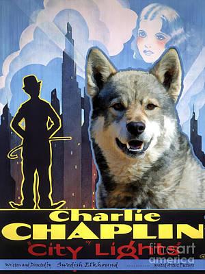 Painting - Swedish Elkhound - Jamthund Art Canvas Print - City Light Movie Poster by Sandra Sij