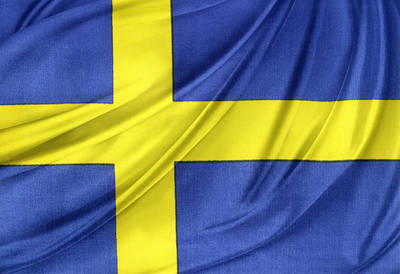 Swedish Flag Art Print by Les Cunliffe