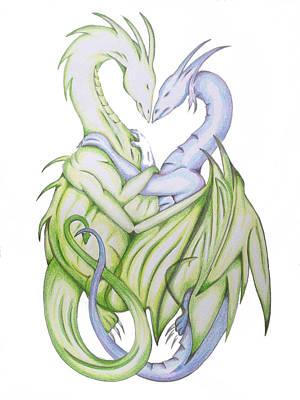 Swedish Love Dragons Art Print by Ian  King