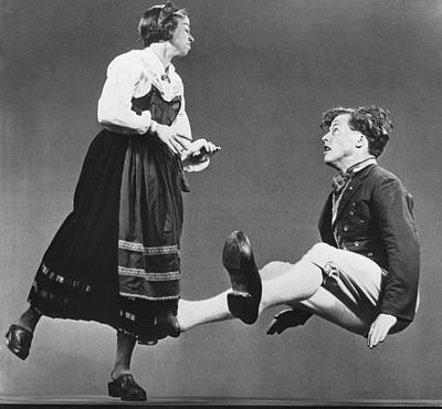 Young Man Photograph - Swedish Wooden Shoe Dance by Underwood Archives