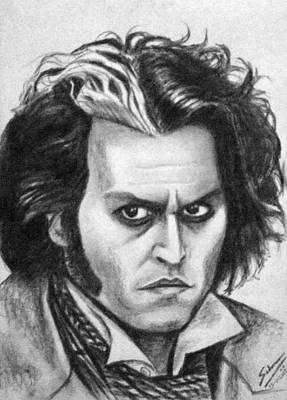 Sweeney Todd Drawing - Johnny Depp As Sweeney Todd by Salman Ravish