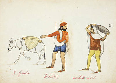 Categories Photograph - Sweeper And His Wife With Their Donkey by British Library
