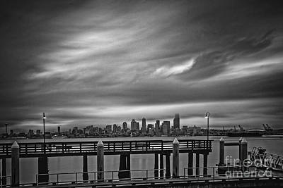 Photograph - Sweeping Vista Of Downtown Seattle From Alki Beach - Seattle Washington by Silvio Ligutti