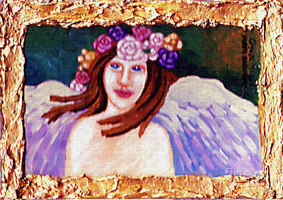 Flower Pink Fairy Child Painting - Sweet Angel by Genevieve Esson