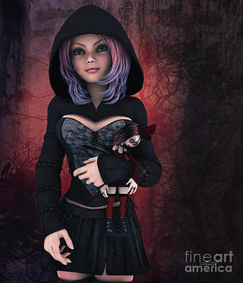 Digital Art - Sweet Betty With Gothic Doll by Jutta Maria Pusl