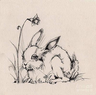 Daffodils Drawing - Sweet Bunny by Angel  Tarantella