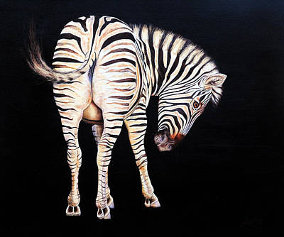 South Africa Zebra Painting - Sweet Cheeks by Luna