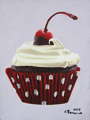 Sweet Cherry Cupcake Art Print by Kayleigh Semeniuk