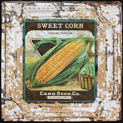 Sweet Corn On Vintage Tin Art Print